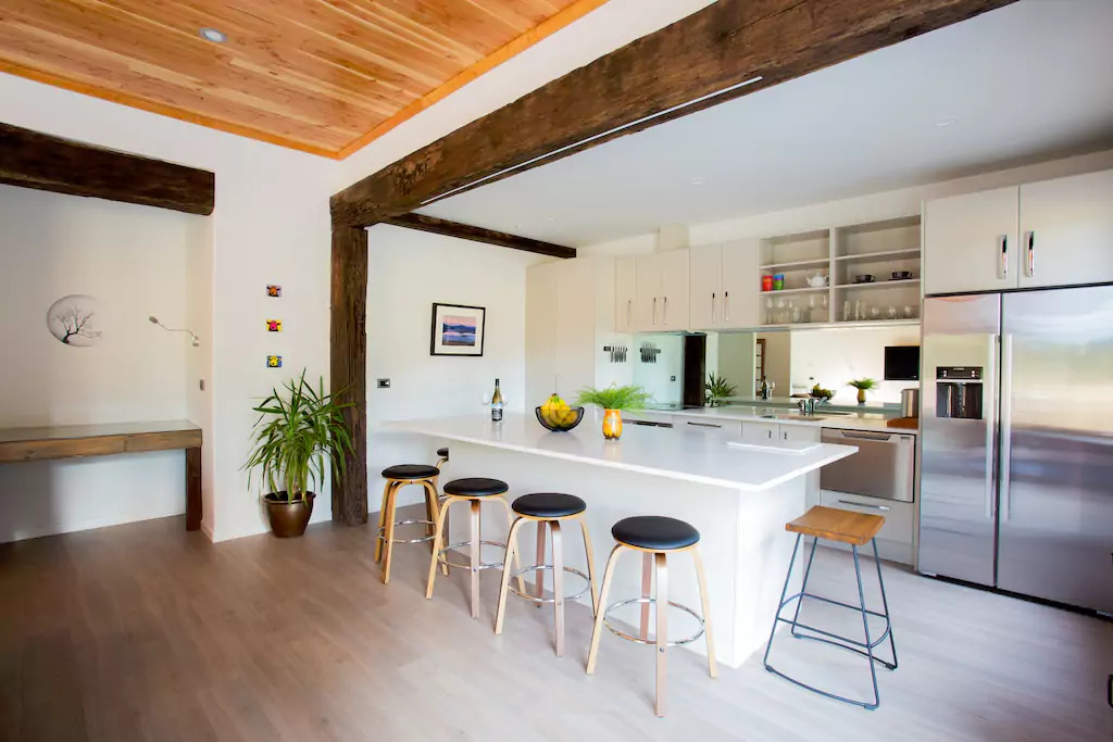 Kitchen and dining room of Wanaka new house. Built by Niche Design & Construction